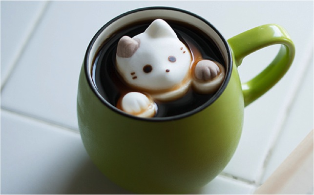 adorable cat-shaped marshmallows green mug