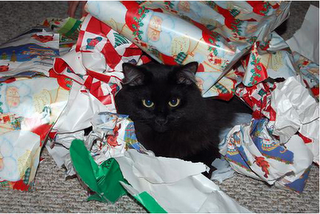 black cat unwrapping gifts cute cats christmas