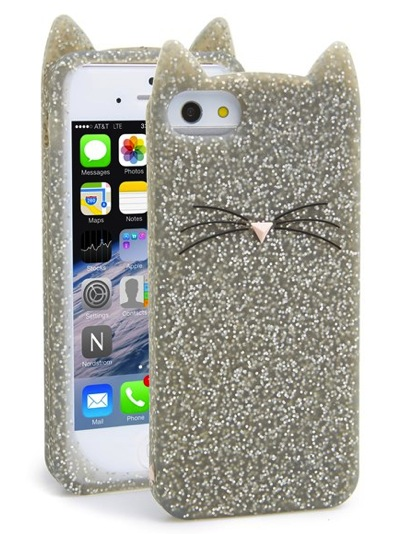 cat lover kitty glitter iphone 5 case