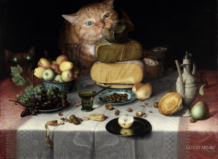 cat painting cheese