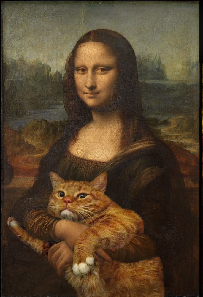 fat cat painting mona lisa