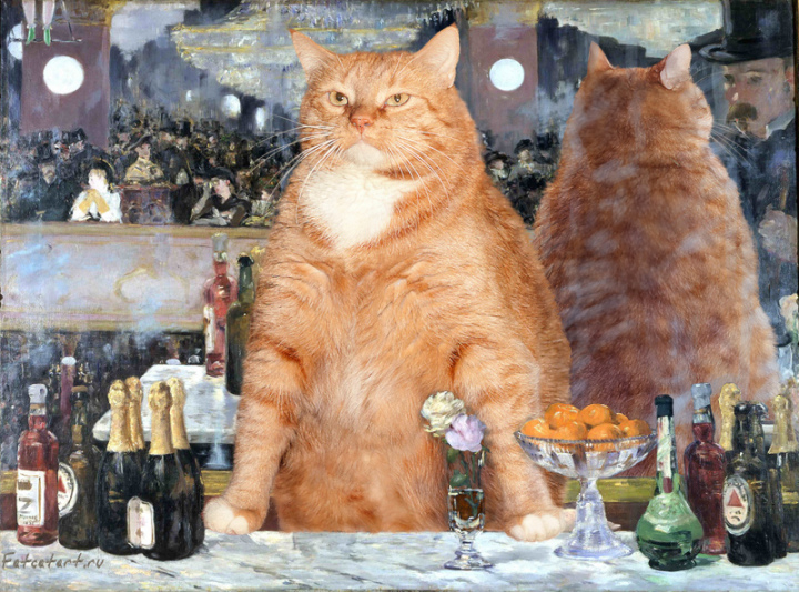 cat painting manet