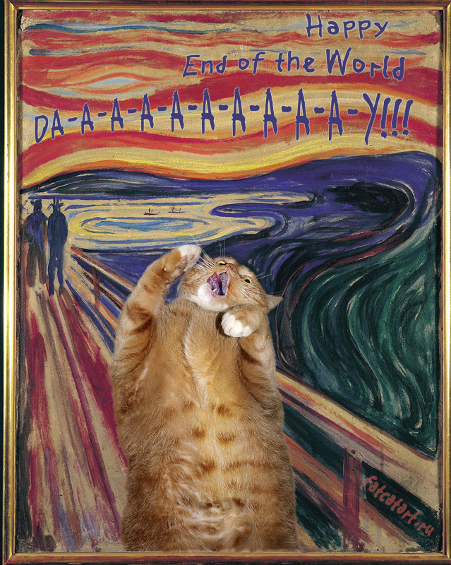 fat cat painting scream