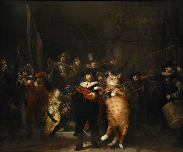 cat painting rembrandt