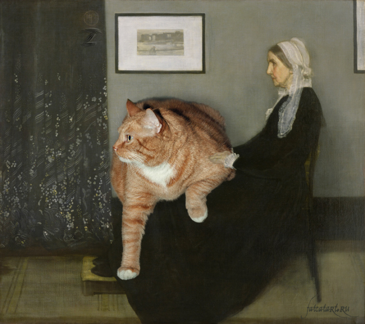 cat photobomb painting whistler