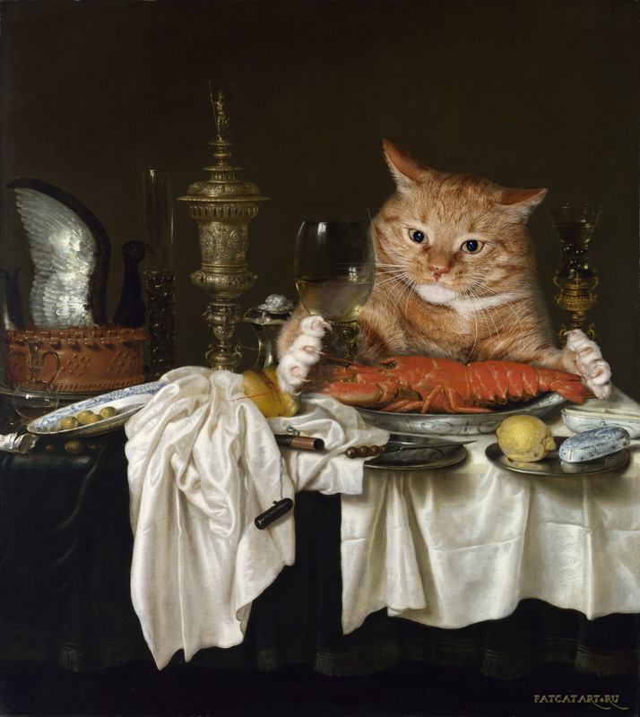 cat painting lobster