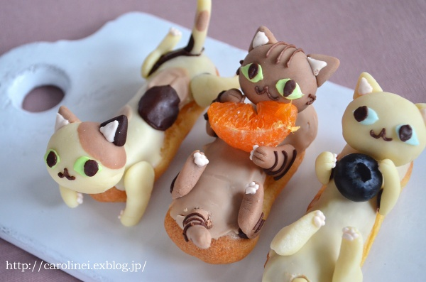 chocolate cat eclair tangerine snack kitty