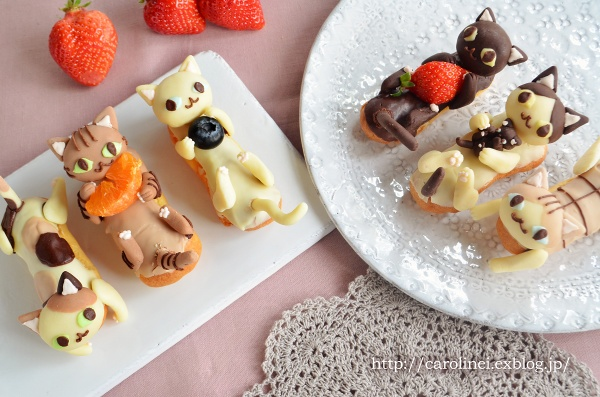delicious cat eclairs kitten pastry